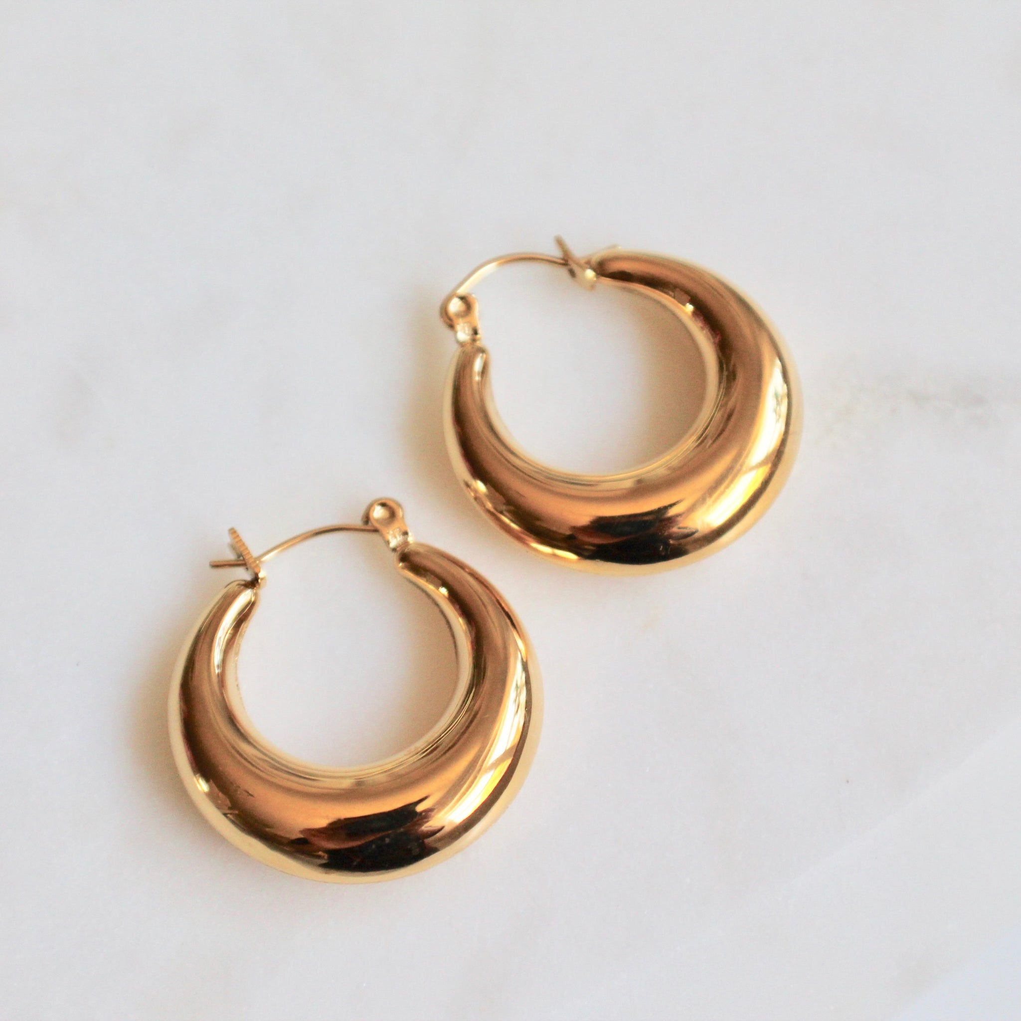 Shiny gold hoops - Lily Lough Jewelry