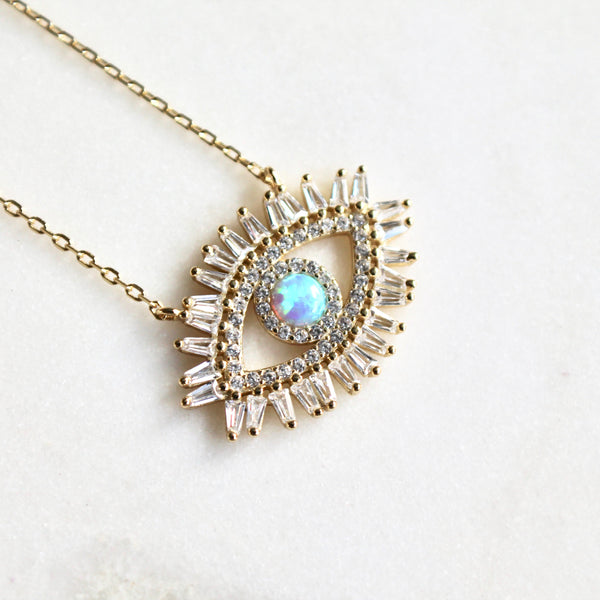 Opal evil eye sterling silver necklace - Lily Lough Jewelry