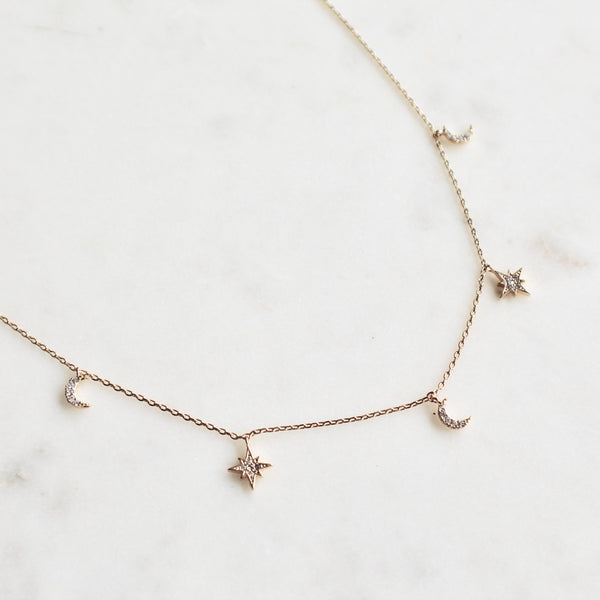 Star and moon dainty choker necklace - Lily Lough Jewelry