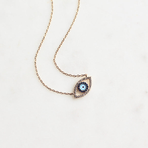 Evil eye cz stones necklace - Lily Lough Jewelry