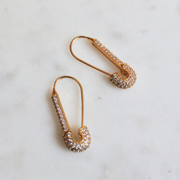 CZ safety pin earrings - Lily Lough Jewelry