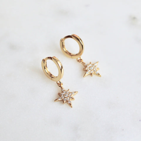 CZ stones star huggies earrings - Lily Lough Jewelry