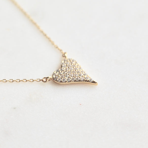 Pave heart sterling necklace - Lily Lough Jewelry