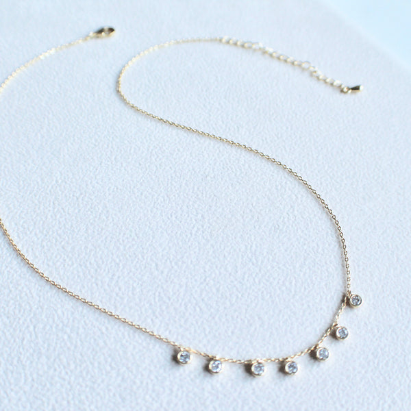 CZ stones charms necklace - Lily Lough Jewelry