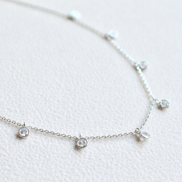 Silver charm drop necklace - Lily Lough Jewelry
