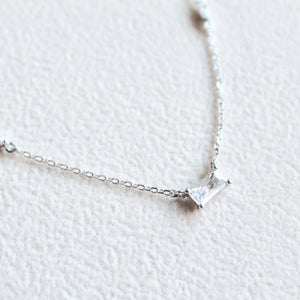 Emerald cut cz stone necklace - Lily Lough Jewelry
