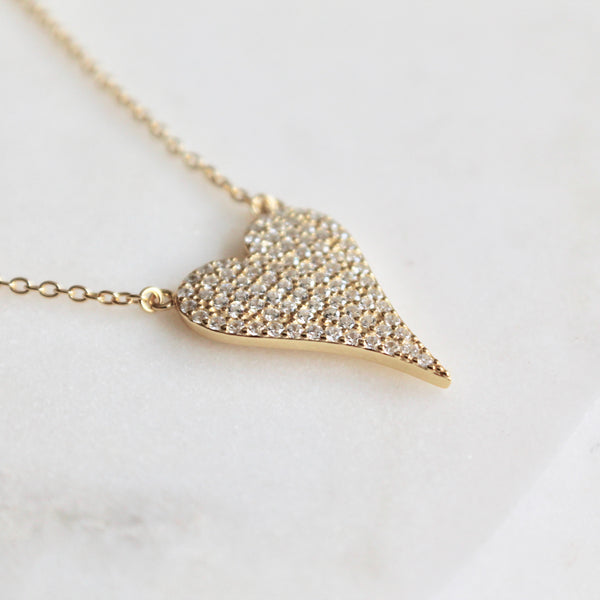 Large pave heart sterling silver necklace - Lily Lough Jewelry