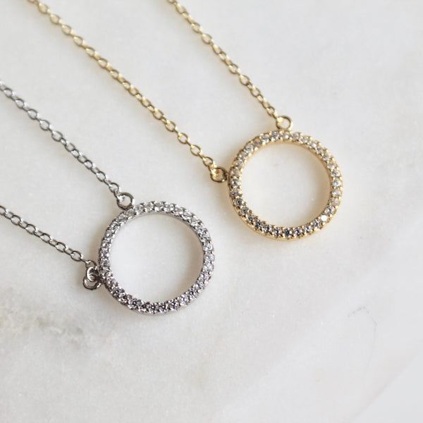 Pave circle dainty necklace - Lily Lough Jewelry