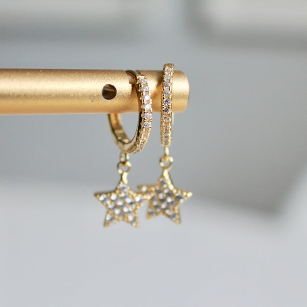 Pave star hoop earrings - Lily Lough Jewelry