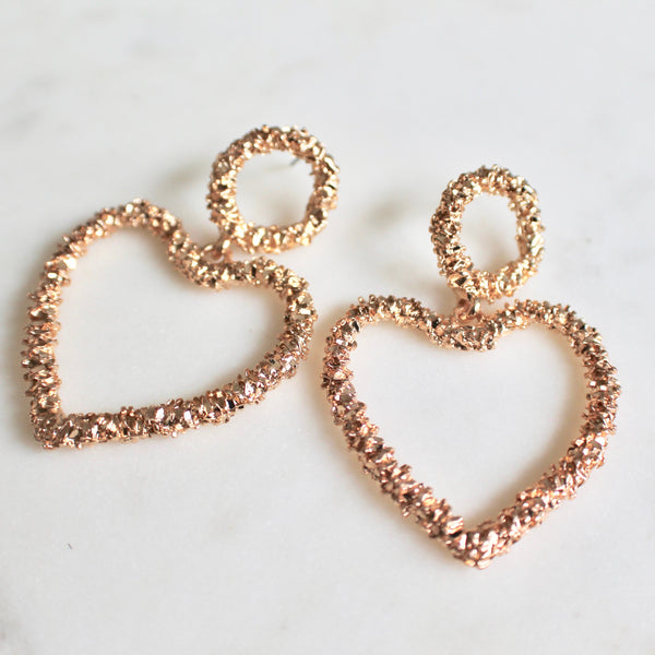 Gold hammered heart earrings - Lily Lough Jewelry