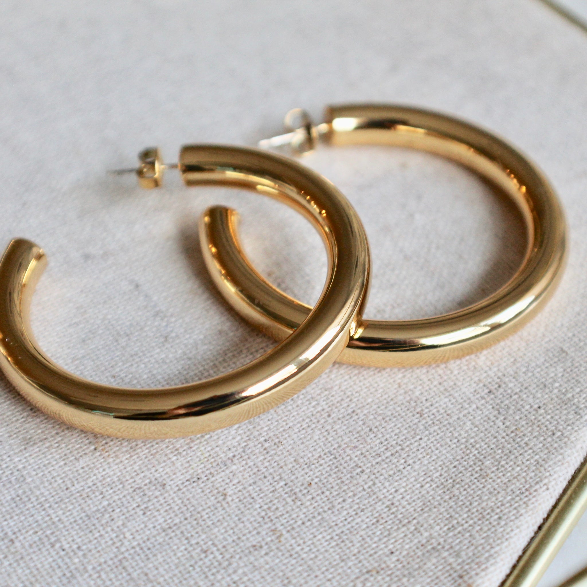 Large gold hoops - Lily Lough Jewelry