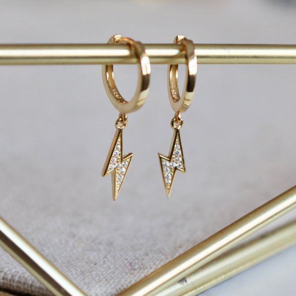 Lightening bolt dangling huggies - Lily Lough Jewelry