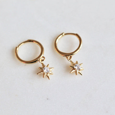 Dangling star huggies earrings - Lily Lough Jewelry