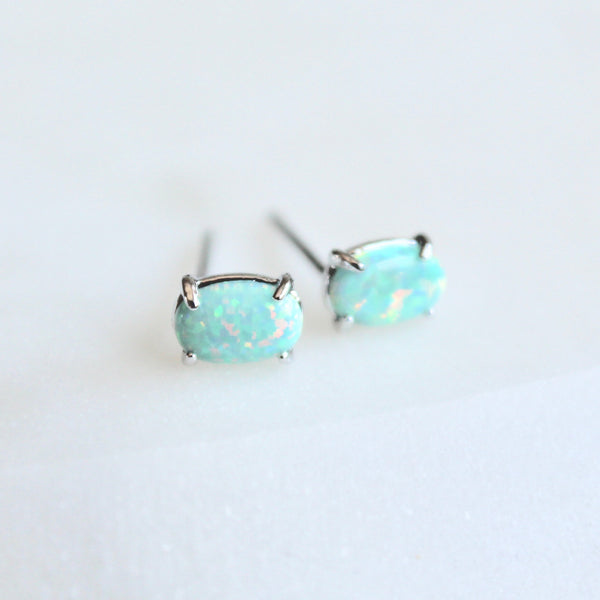 Mini opal stone studs earrings