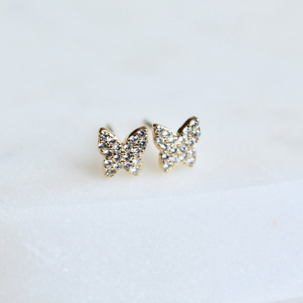 Tiny pave butterfly studs - Lily Lough Jewelry