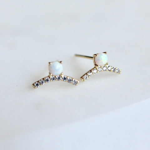 Opal little studs - Lily Lough Jewelry