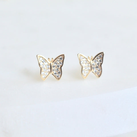 Butterfly CZ stones studs - Lily Lough Jewelry