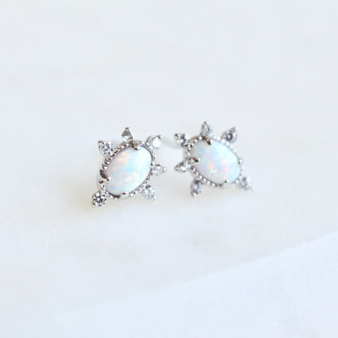 Opal stones tiny star studs - Lily Lough Jewelry