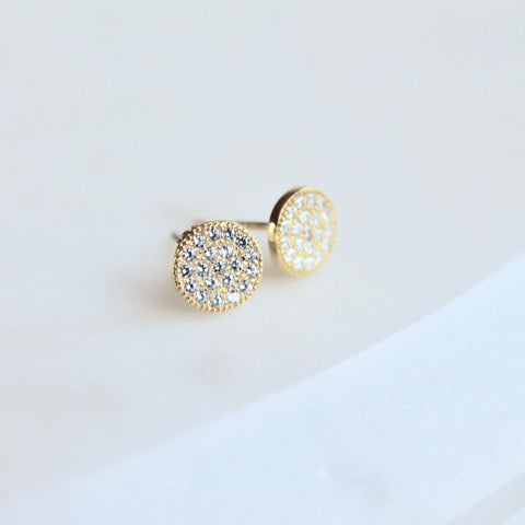 Pave circle studs - Lily Lough Jewelry