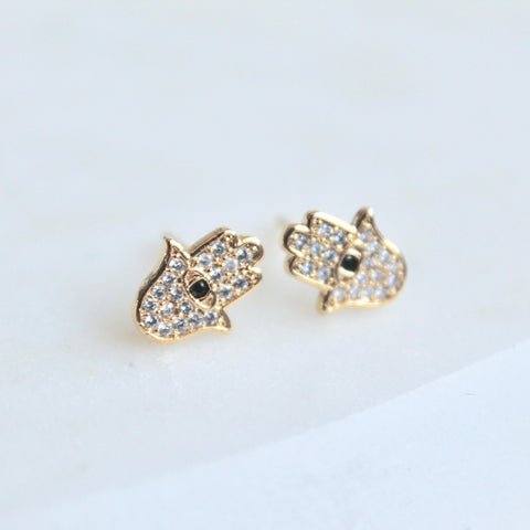 Hamsa tiny studs - Lily Lough Jewelry