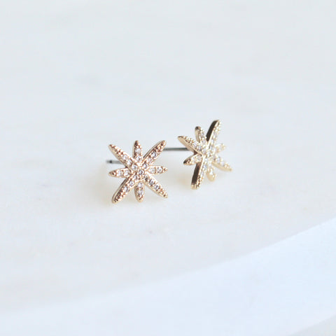 Starburst gold studs - Lily Lough Jewelry