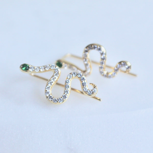 Snake  CZ stones earrings - Lily Lough Jewelry