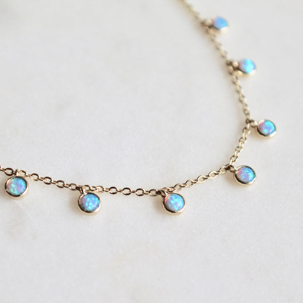 Blue opal stones charms necklace