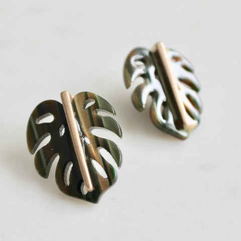 Monstera leaf studs earrings
