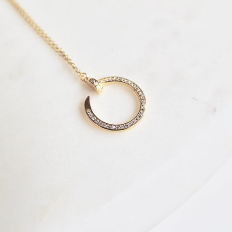 Gold nail sterling silver necklace