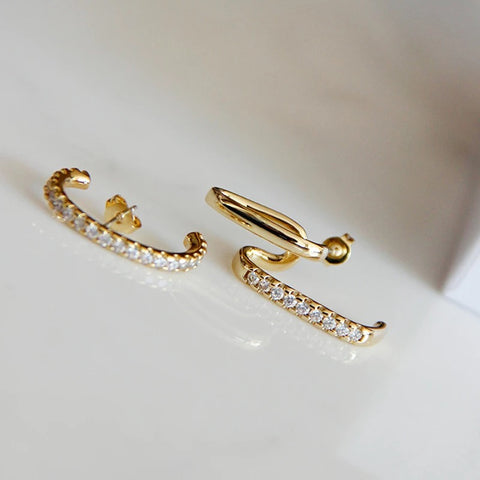 Asymmetrical ear cuff stud earrings - Lily Lough Jewelry