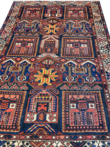 "Antique Persian Bakhtiari 4' 10"" x 6' 8"" Handmade Wool Area Rug - Shabahang Royal Carpet"