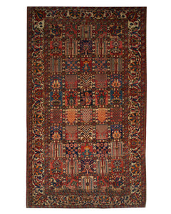 "Antique Persian Bakhtiari 5' 1"" x 8' 8"" Handmade Wool Area Rug - Shabahang Royal Carpet"