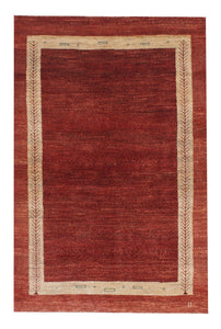 "Persian Gabbeh 3' 4"" x 4' 11"" Red Wool Handmade Area Rug - Shabahang Royal Carpet"