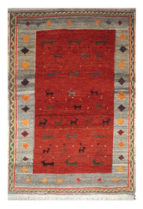 "Persian Gabbeh 3' 4"" x 5' 2"" Red Wool Handmade Area Rug - Shabahang Royal Carpet"