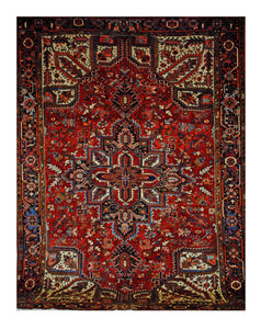 "Vintage Persian Heriz 8' 1"" x 11' 5"" Handmade Area Rug - Shabahang Royal Carpet"