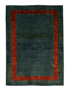 "Persian Gabbeh 4' 1"" x 5' 5"" Green Wool Handmade Area Rug - Shabahang Royal Carpet"