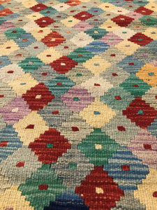 "Handmade Colorful Kilim 2' 9"" x 4' 1"" - Shabahang Royal Carpet"