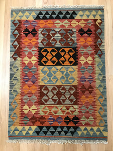 "Handmade Colorful Kilim 2' 8"" x 3' 9"" - Shabahang Royal Carpet"