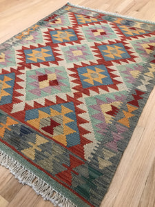 "Handmade Colorful Kilim 2' 8"" x 3' 8"" - Shabahang Royal Carpet"