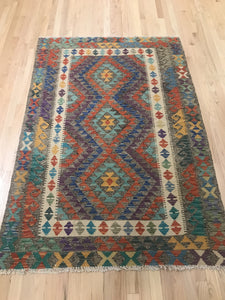 "Handmade Colorful Kilim 4' 2"" x 6' 1"" - Shabahang Royal Carpet"