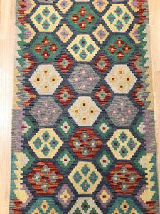 "Handmade Colorful Kilim Runner 2' 8"" x 9' 6"" - Shabahang Royal Carpet"