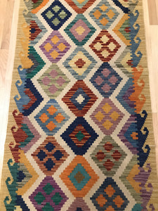 "Handmade Colorful Kilim Runner 2' 10"" x 9' 4"" - Shabahang Royal Carpet"