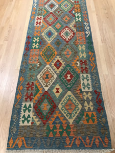 "Handmade Colorful Kilim Runner 2' 10"" x 9' 8"" - Shabahang Royal Carpet"