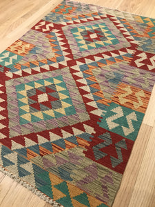 "Handmade Colorful Kilim 2' 8"" x 3' 10"" - Shabahang Royal Carpet"