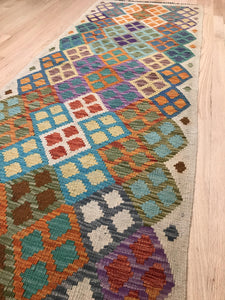 "Handmade Colorful Kilim Runner 2' 6"" x 6' 6"" - Shabahang Royal Carpet"
