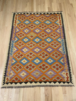 "Vintage Style Handmade Colorful Kilim 4' x 5' 3"" - Shabahang Royal Carpet"