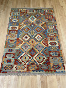 Vintage Style Colorful Kilim 4' x 6' - Shabahang Royal Carpet