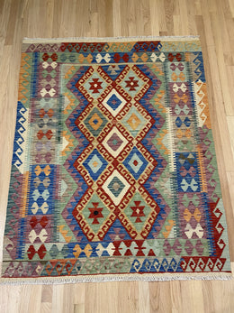 "Vintage Style Handmade Colorful Kilim 4' 2"" x 5' 3"" - Shabahang Royal Carpet"