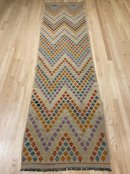 "Handmade Colorful Kilim Runner 2' 7"" x 9' 7"" - Shabahang Royal Carpet"