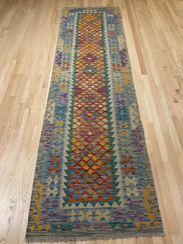 "Handmade Colorful Kilim Runner 2' 9"" x 9' 8"" - Shabahang Royal Carpet"